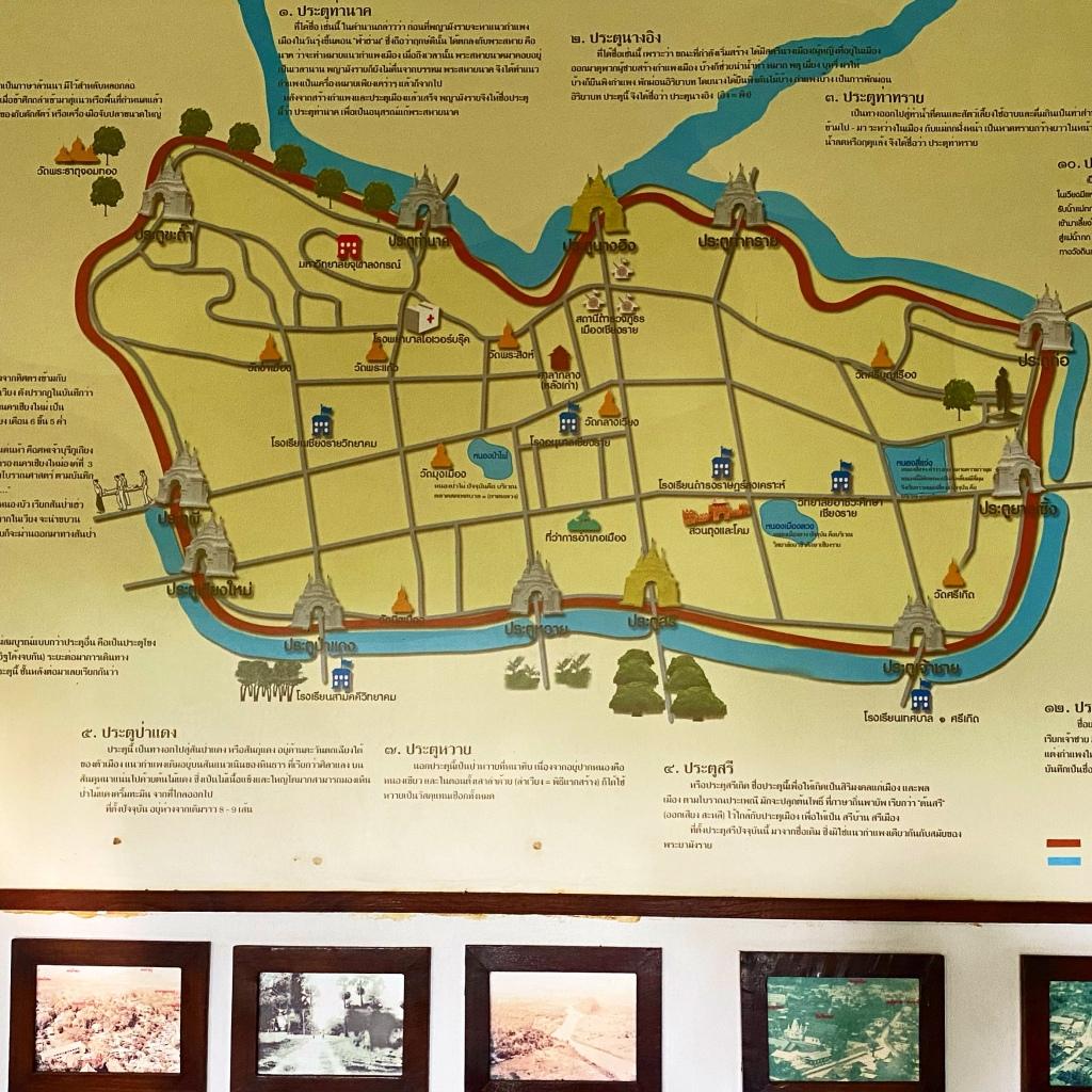 圖中沿著河流繪製的紅色部分是清萊古城牆的位置,沿線共有12道城門,如今所有城門和城牆都已因為都市現代化而拆除殆盡。Photo credit:Frank
